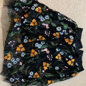 Tulle embroidered knee length skirt